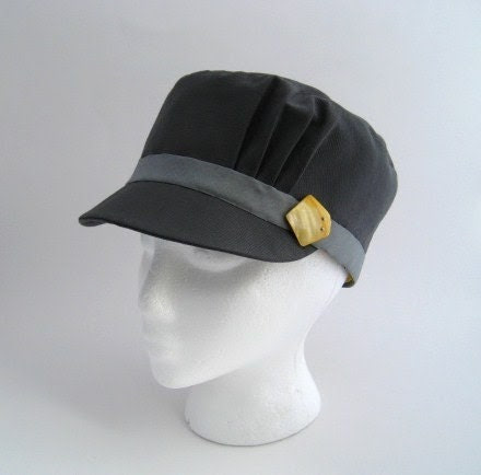 Pleated Cadet Hat - Cool Grey with Yellow Shell Buckle