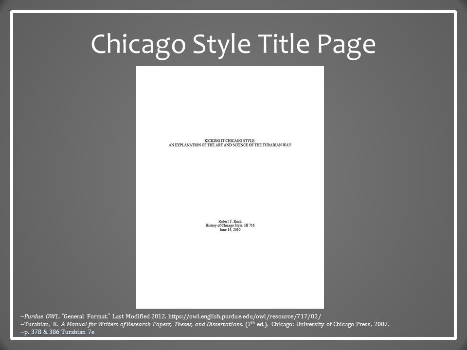 Turabian essay title page