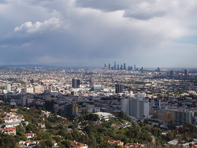 Walking the dogs at Runyon Canyon and appreciating the views of sprawling Downtown L.A.