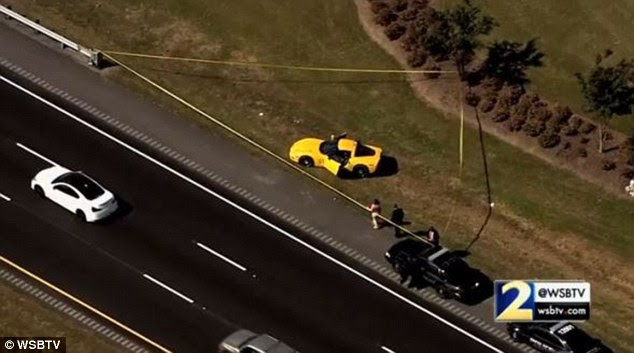 An unidentified man who was behind Angelina Christiano's yellow Corvette (pictured) has still not been found by police