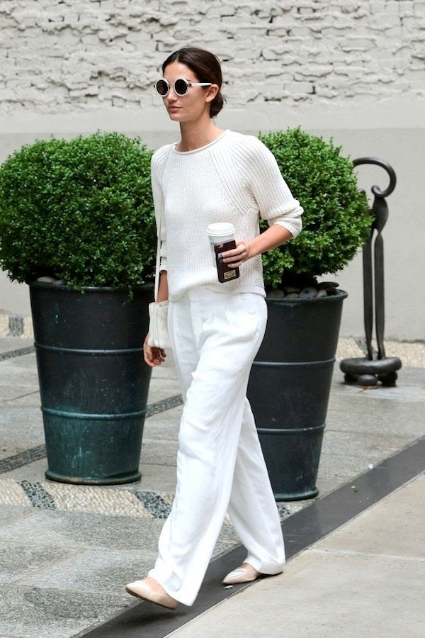Le Fashion Blog Lily Aldridge Street Style All White Fall Outfit Round Sunglasses Sweater Wide Leg Pants Blush Pink Tabitha Simmons Flats Via Zimbio