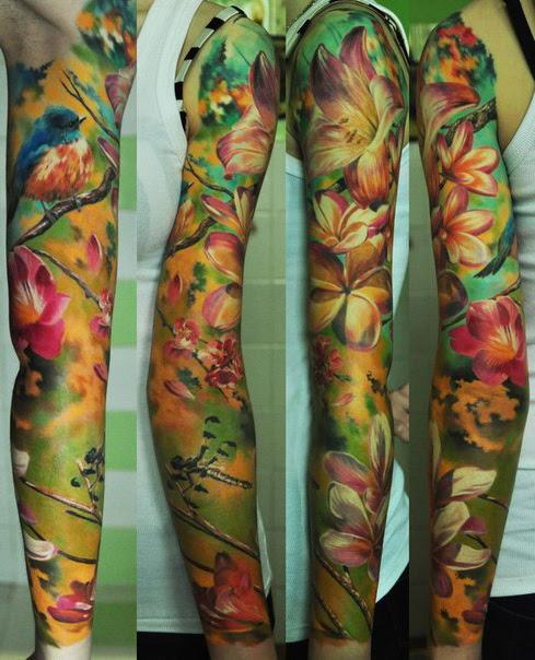 Flower Painting Tattoo Sleeve Idea Best Tattoo Ideas Gallery