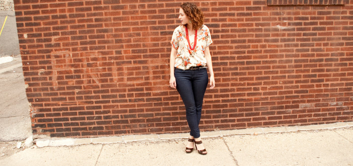 dash dot dotty style blog floral fashion orange jeans heels