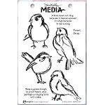 Stamper's Anonymous/Ranger - Dina Wakley Media - Cling Mounted Rubber Stamp Set - Scribbly Birds