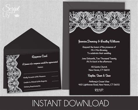Black and White Lace Printable Wedding Invitation Template
