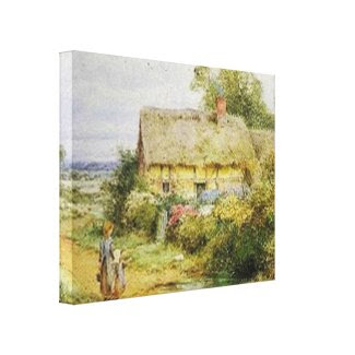 Vintage Country Cottage Stretched Canvas Print