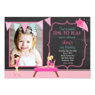 Gymnastics Pendants Birthday Invitation