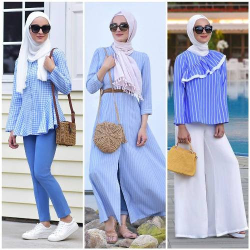 Cute Hijab Outfits In Light Blue Color Just Trendy Girls
