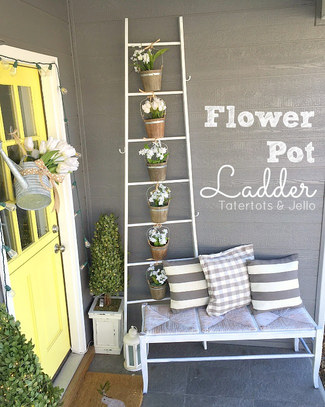 flower pot ladder planter Tater Tots and Jello Easter Spring Ideas- The Style Sisters