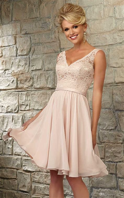 2016 Champagne Lace Bridesmaid Dress Sexy V Neck