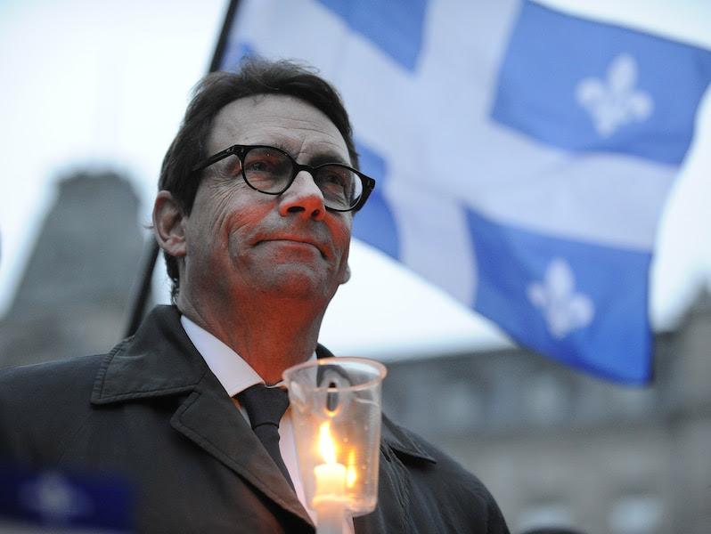 Pierre Karl Péladeau lors d'une vigile en l'honneur de Jacques Parizeau.