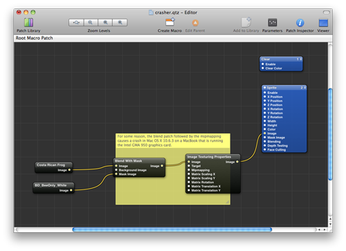 Screenshot of Quartz Composer