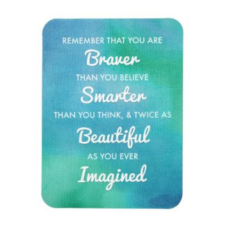 Inspirational Words on Blue Watercolor Background Flexible Magnet