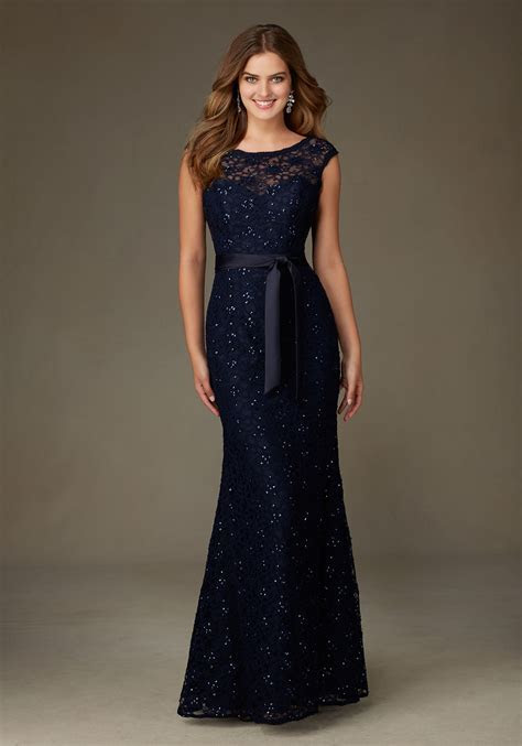 Spectacular Long Beaded Lace Bridesmaid Dress   Style 121
