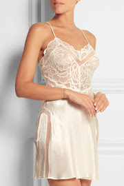 Stretch-lace and silk chemise