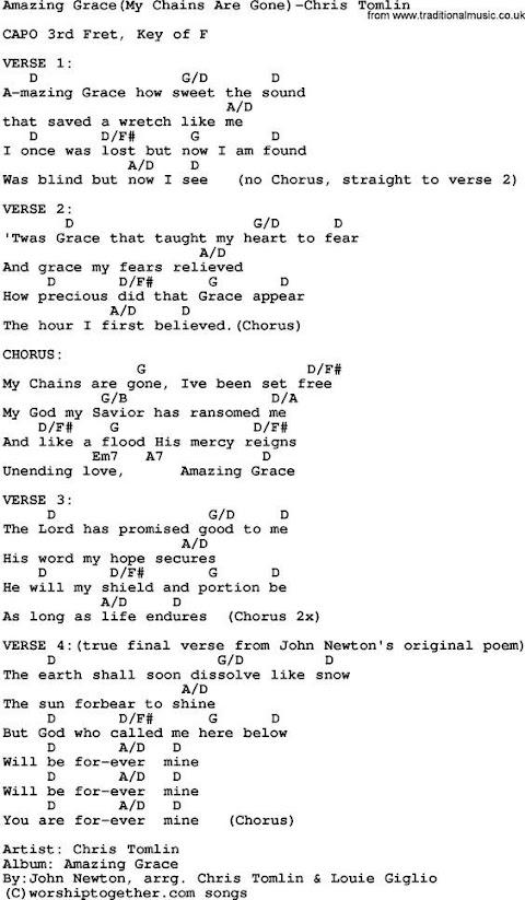 Chris Tomlin Amazing Grace Lyrics And Chords
