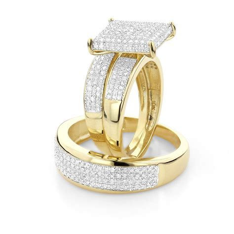 AFFORDABLE TRIO RING SETS:DIAMOND WEDDING RING SET 1.25CT