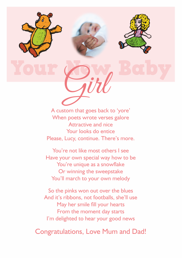 New Baby Girl Poetry Cards