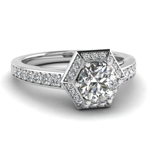 Hexagon Pave Halo Diamond Engagement Ring In 14K White