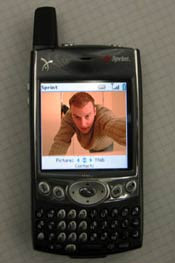 a picture of a Treo with a weird picture of me