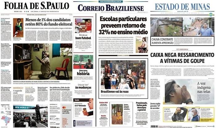 Capas dos jornais desta segunda-feira, 26-10-2020