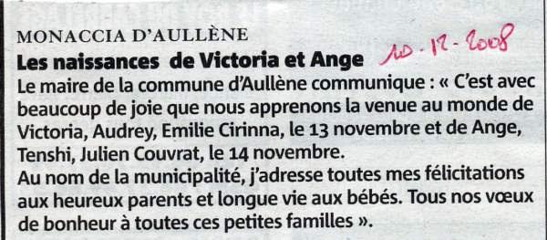 Naissances Couvrat Ange et Cirina Victoria
