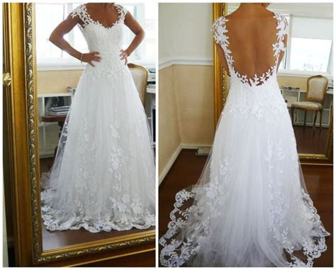 A line Lace Low Back Chapel Train Wedding Dress,lace