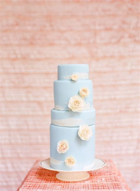 Sky Blue Wedding Cake with Clouds and Roses   A Wedding