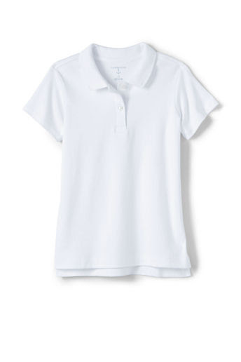 Girls' Short Sleeve Feminine Fit Interlock Polo Shirt - White, L