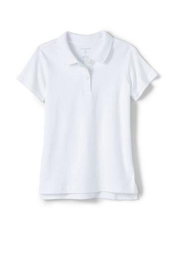 Girls' Short Sleeve Feminine Fit Interlock Polo Shirt - White, L