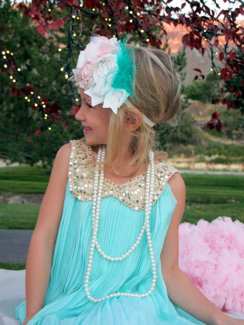 Mint pleated dress with Gold