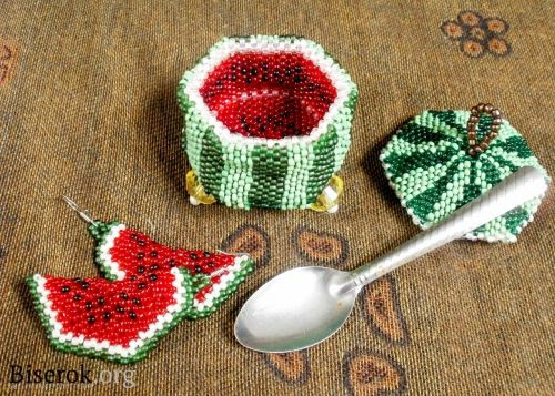 free bead weaving tutorial:watermellon #beadedbox #3D