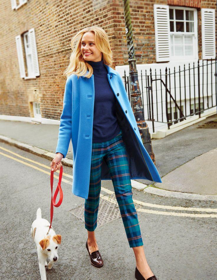 plaid pants with blue coat, cute