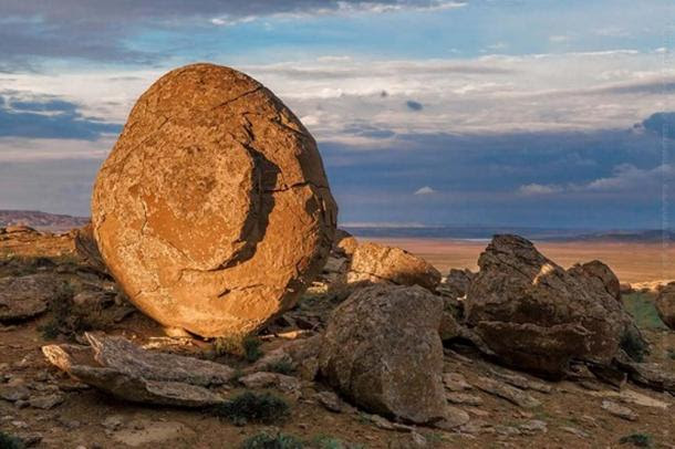 An egg-shaped concretion in the Valley of Balls, Torysh Valley, Kazakhstan.