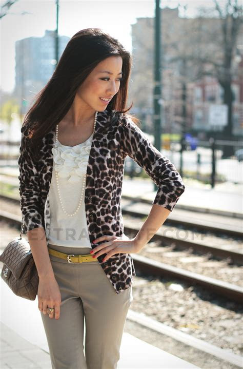 style  leopard cardigan  casual  work wear