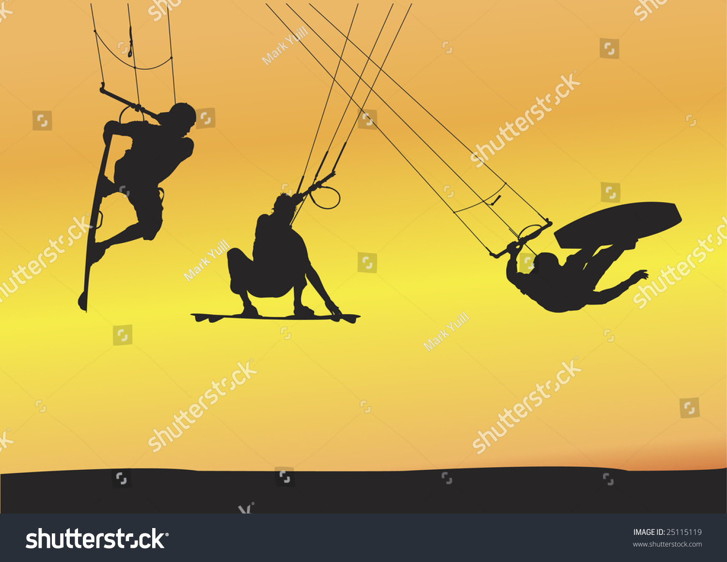 Selection Of Kite Boarding Ariel Jump Silhouettes, Individually ...
