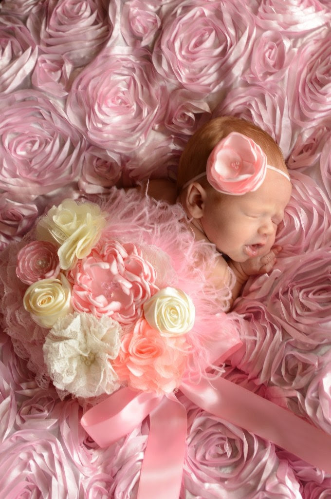 Pink and Cream Pregnancy Maternity Sash, Flower Girl, Photo Prop, Wall Decoration, Newborn Pictures - loveablebabyboutique