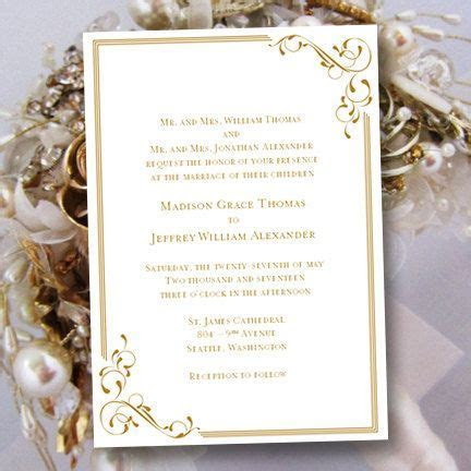 "Printable Wedding Invitation Template ""Elegance"" Gold Also"