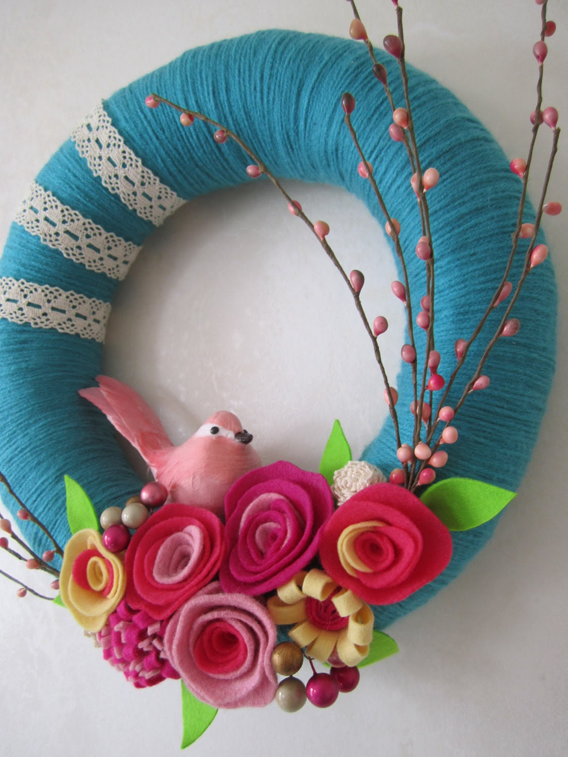 Pink Bird Teal Yarn Wreath 12""