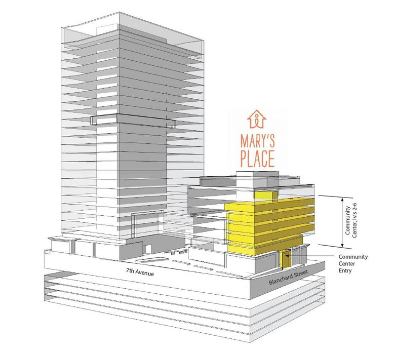 The planned Mary's Place is highlighted in this rendering of two new buildings that Amazon will construct at its downtown Seattle campus.  (Amazon.com)