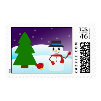 Winter Snowman Postage stamp