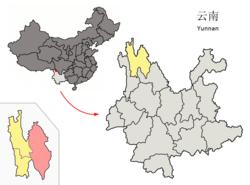 雲南省中の香格里拉県の位置