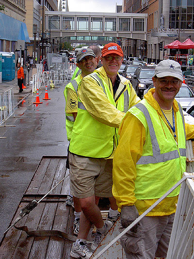 Some of the fencing crew in downtown Minneapolis in the rain