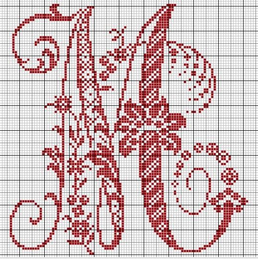 Le monde de zabou grille gratuite lettre m - Grille point de croix lettre ...