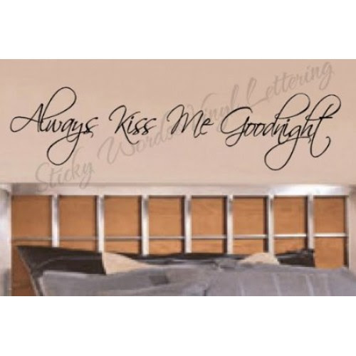 Always kiss me vinyl wall lettering words sticky art home decor ...