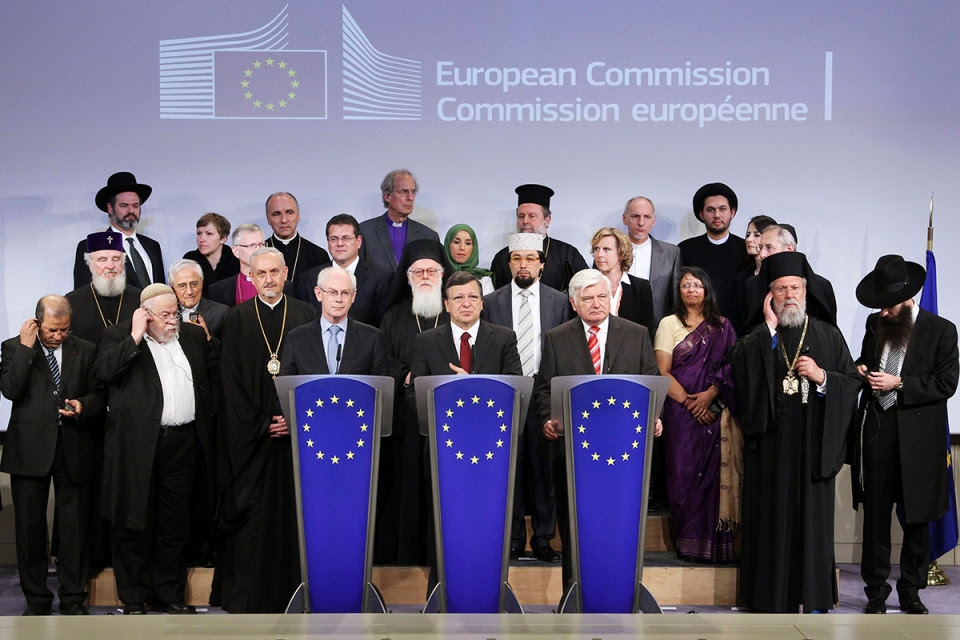 EU Council President Van Rompuy, EU Commission President Barroso and EU Parliament Vice-President Surjan hold a joint news conference with religious leaders in Brussels