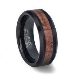 Black Tungsten Koa Wood Wedding Band   Mens Black Wood Ring