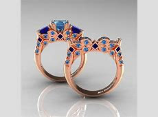 Classic 14K Rose Gold Three Stone Princess Blue Topaz Blue Sapphire Solitaire Ring Wedding Band