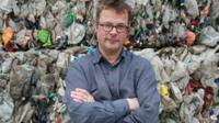 Hugh Fearnley-Whittingstall at a materials recycling facility in Greater Manchester.