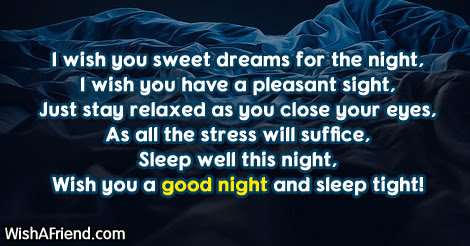 I Wish You Sweet Dreams For Cute Good Night Message